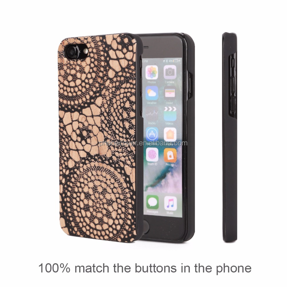 TPU+WOOD Material engraving cell phone case for Iphone 7,trendy cell phone case