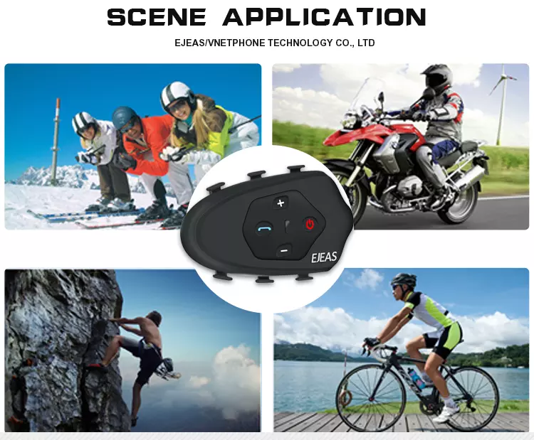 Waterproof Bicycle Helmet Intercom 1200M Bluetooth Headset With Fm Helmet Intercom