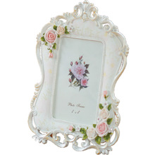 Rose Flower Polyresin White and Lacinessr Photo frame for Wedding Favors Gifts