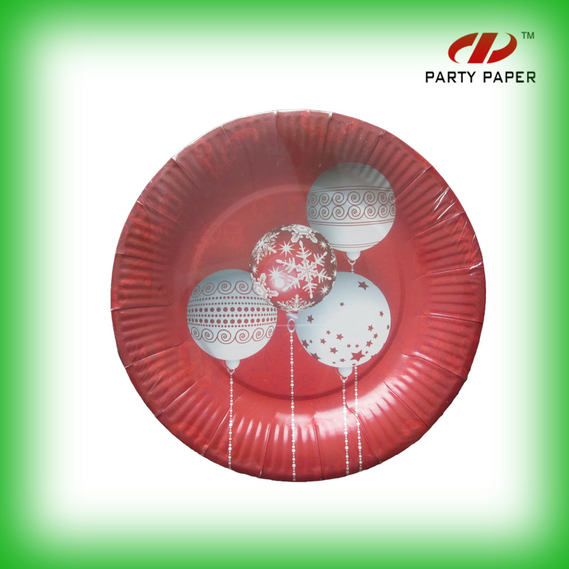 Blowout The White Balloon Red lace Round Type Paper Plate For Party Time