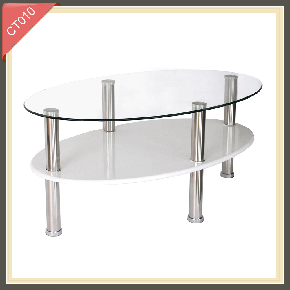 Oval Coffee Table With Metal Legs: Modern Living Room Furniture Oval Glass Top Coffee Table