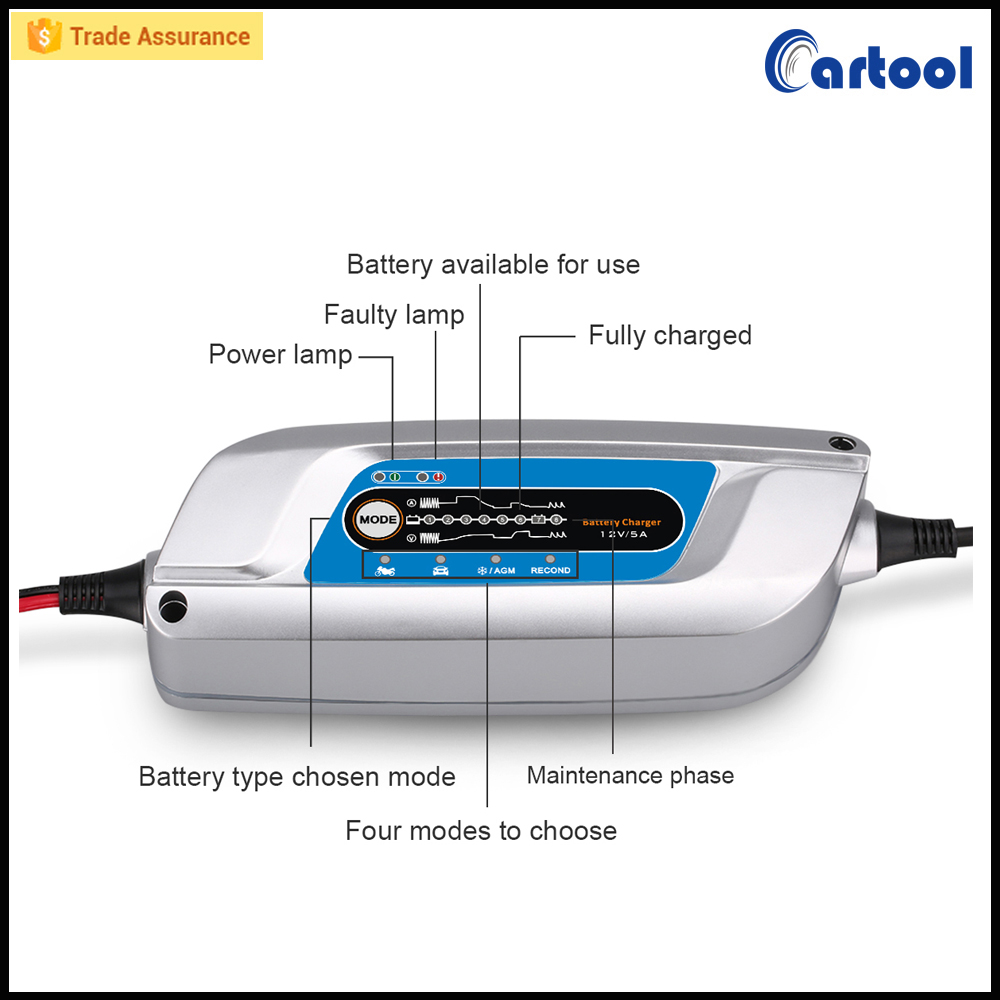 8 Steps New Portable Car Battery Charger 12v 3A Fully-automatic battery charger