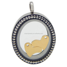 Korea Version Round Stainless Steel Magnetic Locket Necklace Pendant