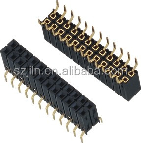 straight u type terminal 2.54mm dual row bottom entry female header wholesale