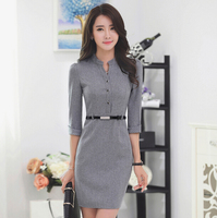 Black and grey colour available nice design half sleeve lady office slim fit formal buisness dress in China wholesale