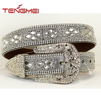 Rhinestone chain beaded bling glass studded childrens western belts