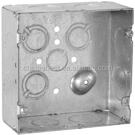 "4"" Pre-galvanized steel square junction box electrical conduit switch box"