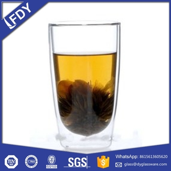 customized double wall glass cup