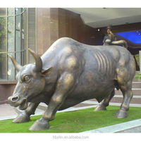 office building outdoor brass wall street bull sculpture