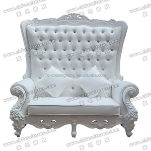 White Royal wedding throne chairs for bride and groom sofa chair for sale YC-D97