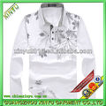 2014 mens white long sleeves polo t shirt with pattern