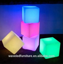illuminated 16 colors change light Outdoor Plastic cube led furniture
