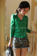 Blouses 2013 new designs latest fashion ladies blouse patterns green blouse for elegant lady