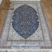 5x8ft yilpng factory blue flower hand made silk carpets