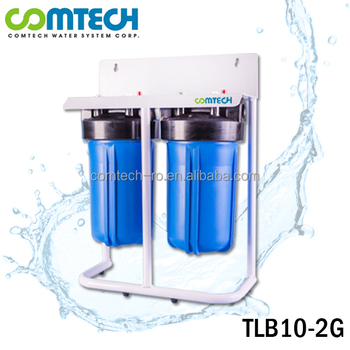 Big Blue 2-Stage Jumbo Water Treatment Filter System With Steel Stand Bracket