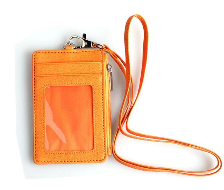 PU leather Work Badge ID Card Holder With Lanyard