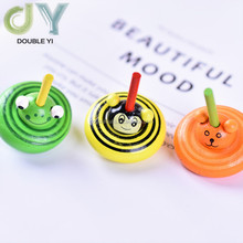 Wooden Multicolor Animal Gyroscope Spinning Tops Intelligence Kids Toy for Toddlers