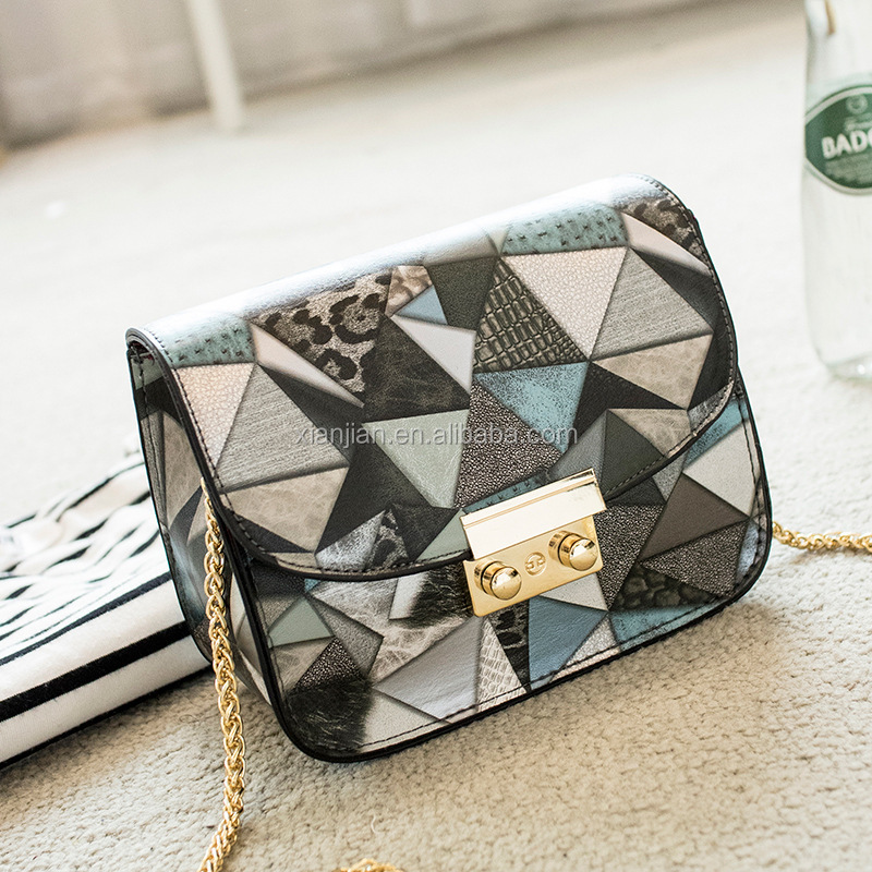 Triangle Clipping PU leather Mini Shoulder <strong>Bag</strong> Crossbody <strong>Bag</strong> for women and lady