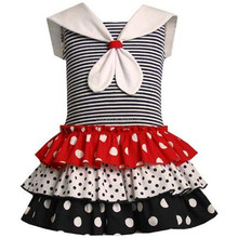 4th of July Patriotic Three Different Polka Dots Ruffle Short Dress