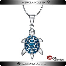 Adorable Vintage Sterling Silver Turtle Pendant with Opal Stone