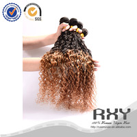 malaysian hair two tone brown colored curly hair weave spray