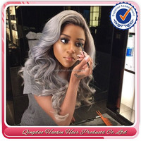 Factory Price Top Fashion 18 inch Wavy 100% Human Hair Brazilian Human Hair Grey Lace Front Wig