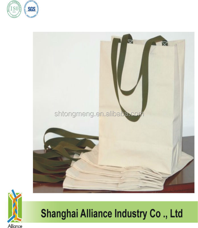 New style blank cotton tote shopping bag with green handle