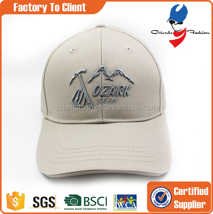 ventilate long brim baseball cap with embroidery logo