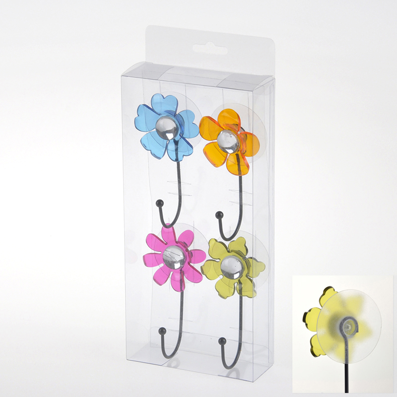 Colorful Decorative Flower Design Wire Hanging Hooks