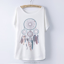 2016 Fashion Women Tops Tees Cute Dream Catcher Printing Cotton T-shirt Women's Short Batwing Sleeve Tshirt on Sale