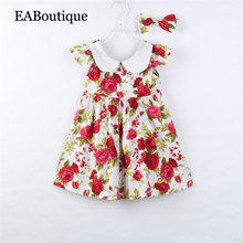 Hot sale girls sweet dress with bow headband rose beautiful children's set