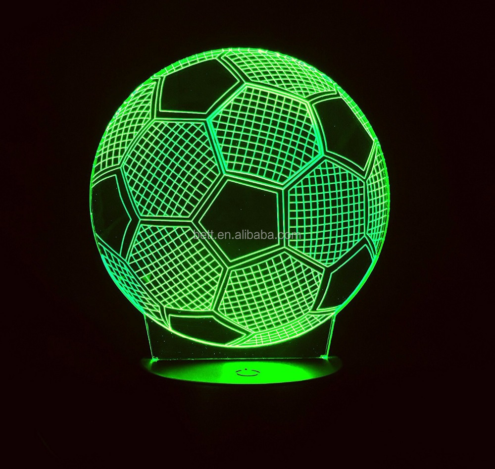 2018 Worldcup Football Design Kids Room Decor Optical Illusion Night Light led 3D lamp for promotion