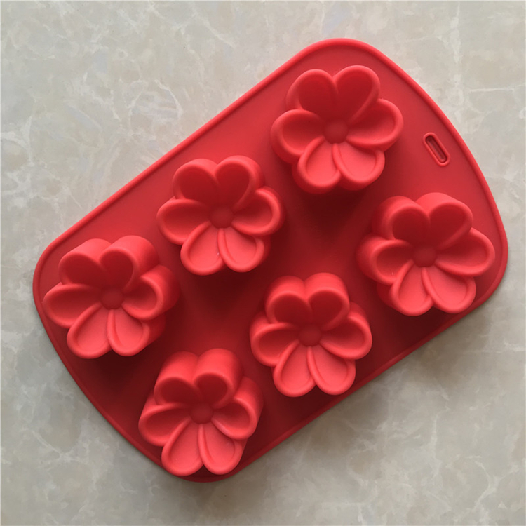 Cheap price 6-Cavity silicon cake molds flower shape custom baking supplies 100g silicone soap mold