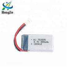 HJ CE MSDS Li-polymer Helicopter Rechargeable Lipo Lithium Polymer Battery 3.7V with 400mAh RC Quadcopter