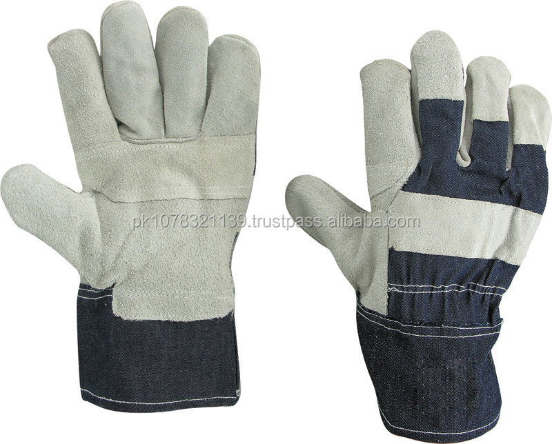 Industrial split leather working gloves