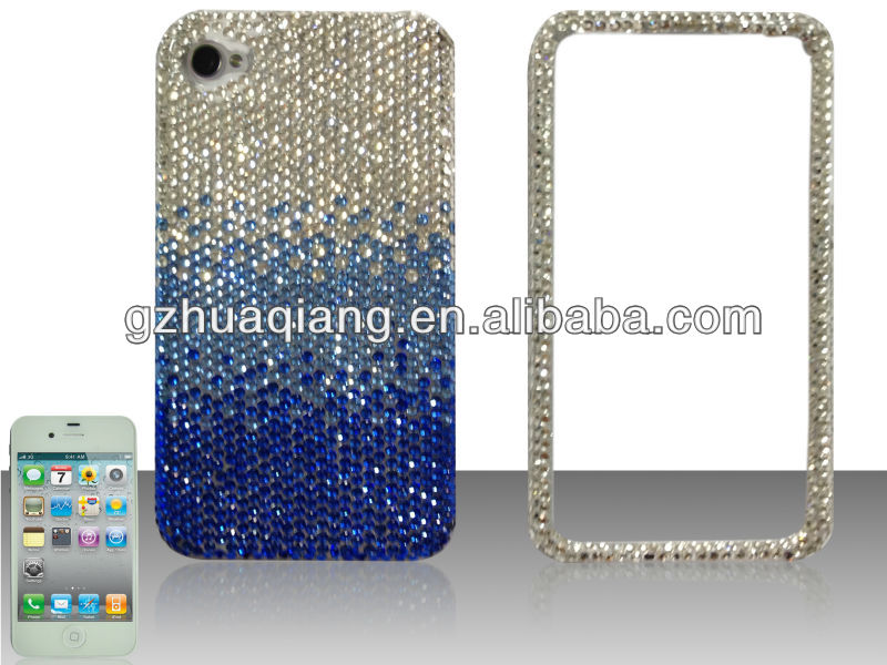 Blue waterfall 2 in 1 design high quality shiny diamond for iphone4/4s/5 cover case