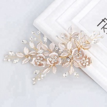Cheaper Handmade Wedding Fancy Hair Accessories Bridal Crystal Leaf Hair Clip For Thick Hair