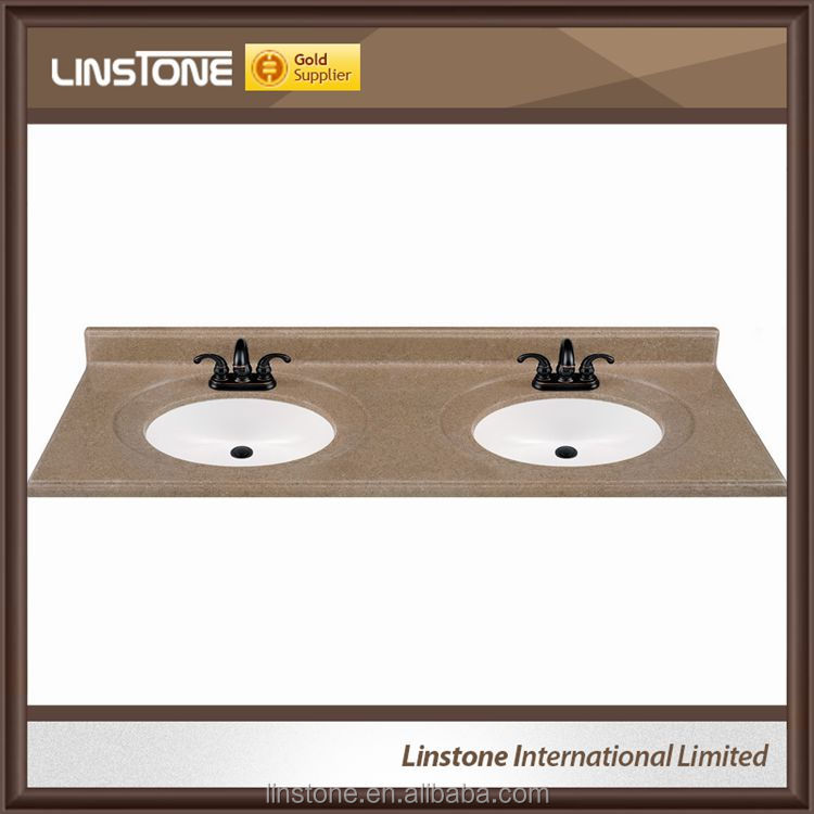 Solid Surface Integral Double Sink Granite Bathroom Vanity Top