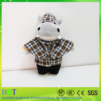 Popular hippo plush toy in Holmes costume, customized cartoon character stuffed toy