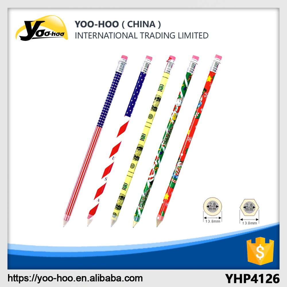 High quality customized artwork Wooden HB Pencil with eraser