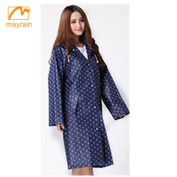 0.10mm-0.20mm PVC waterproof ladies long raincoat