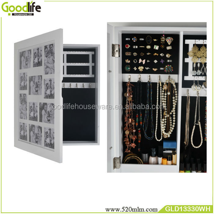 Wooden glass wall mount mirrored jewelry cabinet with photo frame npositions