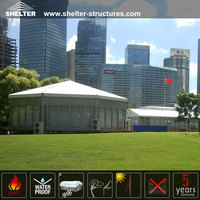 Cost-effective white PVC fabric glass wall hexagon tent for outdoor activities