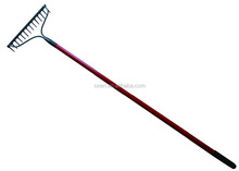 Metal garden lawn grass rake with glass fiber soft grip handle