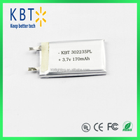302235 polymer lithium battery rechargeable polymer lithium battery 170mah 3.7v lithium battery