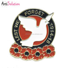 Dove of Peace Poppy Remembrance Day Lapel Pin Badge