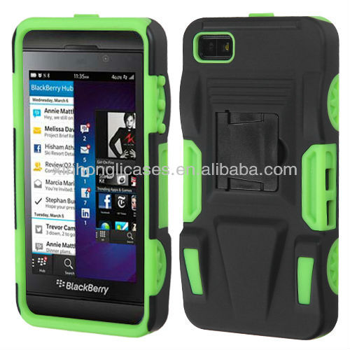 for blackberry z10 case cover hybrid armor stand black/green