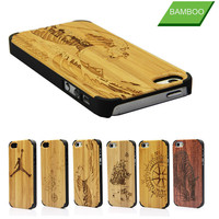 Custom Patterns Bamboo back phone cover for iphone5s wooden case with four PC corners