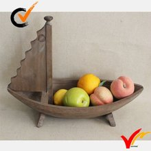 Antique sailing boat wooden fruit tray