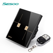 Sesoo Eu Standard New Design Smart Home Electric Touch Wall Light Wireless Control 2 Gang 1 Way Remote Switch